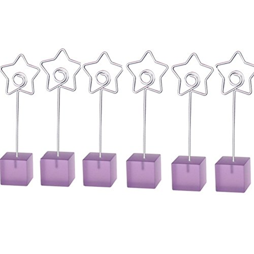 M-Aimee 6 Pcs Cube Base Memo Clips Holder with Heart-shaped Clip Clasp for Displaying Photos Number Cards (Star Clip) (Star Clip, Purple) (Picture Markers compare prices)