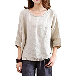 Soojun Women's Essential Casual Loose Solid Cotton Linen Tops Blouses