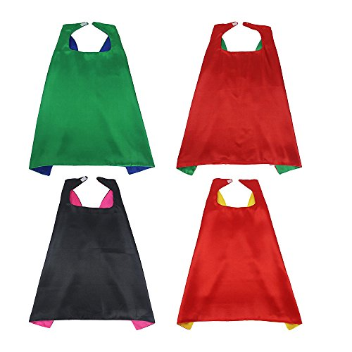 Superhero Dress Up Costumes - 4 Capes, 4 Masks - Superhero Party Supplies (Captain America Toddler Girl Costume)