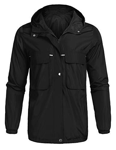 5c33a59fc poriff Men's Lightweight Waterproof Rain Jacket Packable Hooded Long Raincoat  Windbreaker Jackets Black XL