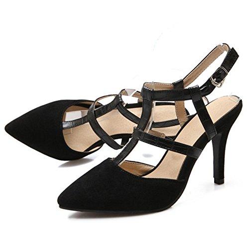 COOLCEPT Mujer Moda Correa En T Sandalias Cerrado Slingback Tacon de Aguja Zapatos Negro