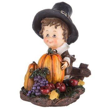 Fall Resin Boy Pilgrim Figurine Thanks Giving Party Supplies