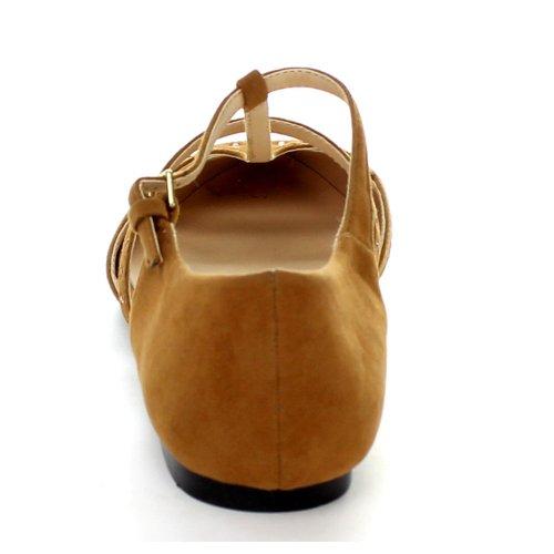 Bonnibel Milo-1 Dames Puntige Neus Strass T-strap Enkelbandje Ballerinas, Kleur: Bruin, Maat: 6,5