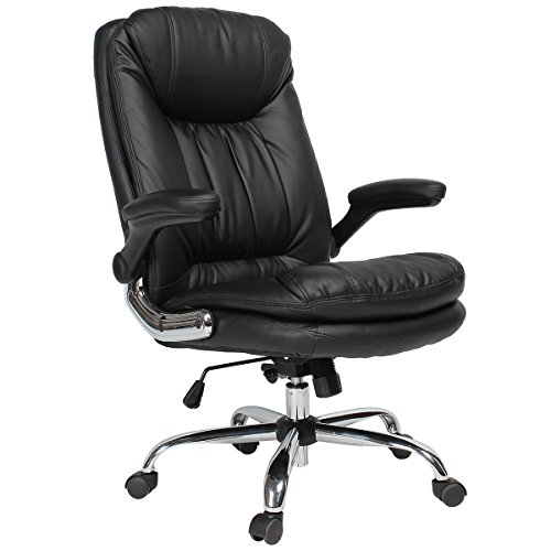 (YAMASORO Ergonomic Executive Office Chair - High-Back Office Desk Chairs Leather Computer Chair Adjustable Tilt Angle and Flip-up Arms Big for Man and Women Black)