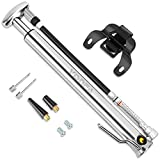 visnfa Portable Mini Bike Pump with Pressure Gauge and High Pressure 160 PSI - Aluminum Alloy Mini Bicycle Pump Fits Presta & Schrader Valve and No Adapter Needed (Cold Gray)