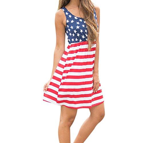 Creazydog Creazy Des Femmes De Drapeau Américain Imprimé Sans Manches Sexy Mini Robe