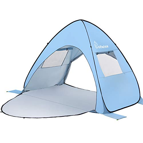 WolfWise UPF 50+ Easy Pop Up 3-4 Person Beach Tent Instant Sun Shelter Tent Sunshade Baby Canopy