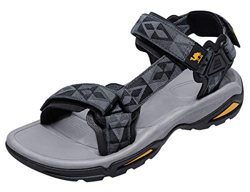 CAMEL CROWN Mens Hiking Sandals Waterproof with Arch Support Open Toe Summer Outdoor Comfort Beach Water Sport Sandals Grey/Black (Best Waterproof Hiking Sandals)