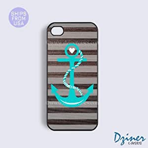 iPhone 5c Case - Grey Stripes Anchor iPhone Cover