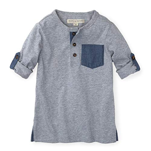 Hope & Henry Boys Grey Henley Tee with Rolled Sleeves and Pocket