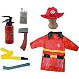 Firefighter Kids Fire Chief Role Play Costume Set (7 Pcs)