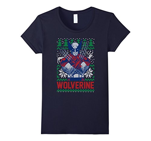 Womens Marvel X-Men Wolverine Christmas Tree Ugly Sweater T-Shirt Large Navy