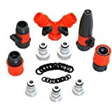 Garden Hose / Quick Connectors Set Including: Garden Hose Nozzle, Hose Splitter - with Shut Off Valve, 20 Rubber Washers, for: Outdoor Soaker, Sprinkler, Drip Irrigation Systems - Best Value Bundle