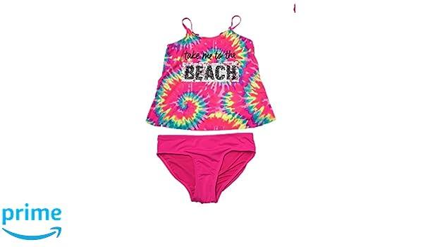6dc4d55d76 Amazon.com: Justice Girls Swimwear Take me to The Beach Tie Dye Flip Sequin  Tankini Set Multi Pink: Clothing