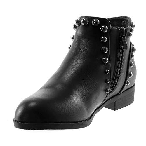 5 Bloc Clouté Boots 2 Femme Élastique Perle Mode Angkorly Chaussure Fourrée Intérieur Cm Chelsea Bottine Noir Talon qxS7wv