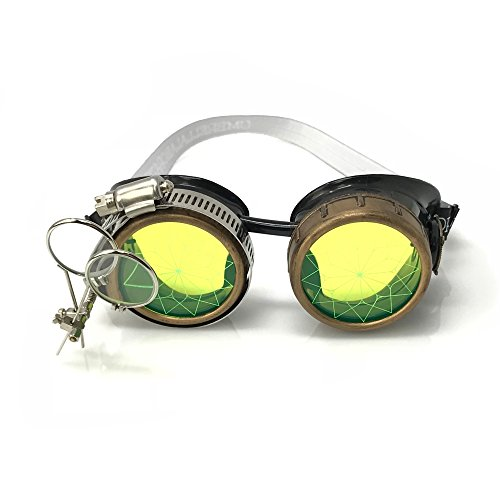 Steampunk Victorian Style Goggles Rave Glasses with Compass Design and Double Ocular Loupe Neon Green]()
