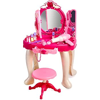 Merveilleux Pink Princess Make Up Vanity Table For Little Girls With Sound And Light