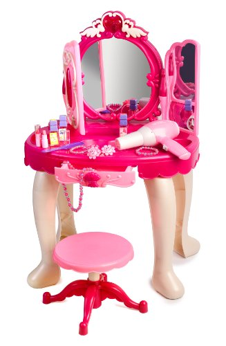 Pink Princess Make Up Vanity Table For Little Girls with Sound and Light (Disney Dresser)