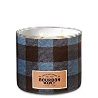 Bath and Body Works White Barn Bourbon Maple 3 Wick Candle Blue Brown Denim Plaid...