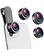 AMIR Phone Camera Lens, 230°Fisheye Lens + 0.65X Super Wide Angle Lens + 15X Macro Lens, Clip on 3 in 1 HD for iPhone Lens Kit for iPhone X, 8/7 Plus/7, Samsung Android Smartphones