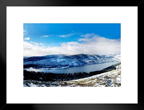 Poster Foundry Donner Lake Winter Snow Tahoe Mountains Landscape Photo Matted Framed Wall Art Print 20x26 -