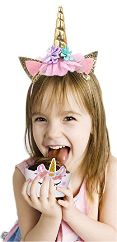 Bestus (29 pack) Unicorn Cake Topper with Eyelashes, Headband, Cupcake Wrappers and Happy Birthday Banner./Unicorn Party Supplies,for Birthday Party, Baby Shower, Kids Party Decoration by Bestus (Image #4)