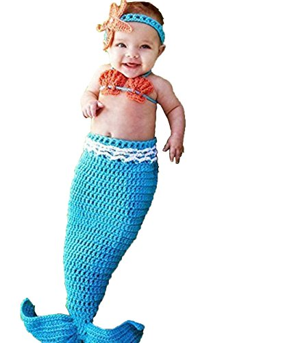 MG House Fashion Newborn Girl Baby Handmade Crochet Knitted Photo Photography Prop Mermaid Tail Romper Outfits+1 Soft Bib