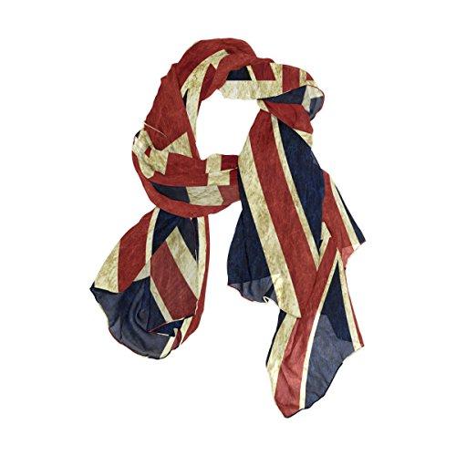 Use4 Fashion Lightweight Vintage Union Jack British Chiffon Silk Long Scarf Shawl Wrap
