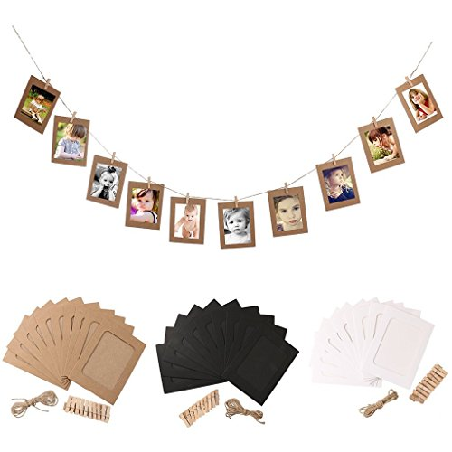 Get Orange 30 pcs DIY Paper Photo Frame Wall Deco with Mini Clothespins and Stickers - Fits 4