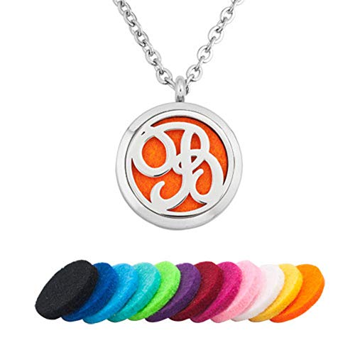 Infinite Memories Monogram Initial Letter B Aromatherapy Essential Oil Necklace Locket Perfume Pendant with Refill Pads (Xmas B And Q Tree)