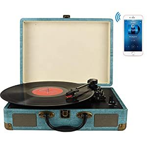 Record Player 3-Speed Bluetooth Suitcase Turntable with Stereo Speakers, RCA Output, Aux input and Headphone Jack
