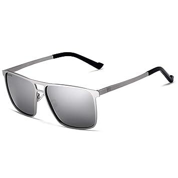 QZHE Gafas de sol Unisex Acero Inoxidable Cuadrado HD Espejo ...