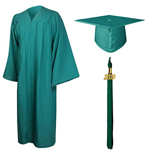 GraduationMall Matte Graduation Gown Cap Tassel Set 2019 for High School and Bachelor Emerald Green 57FF(6'0