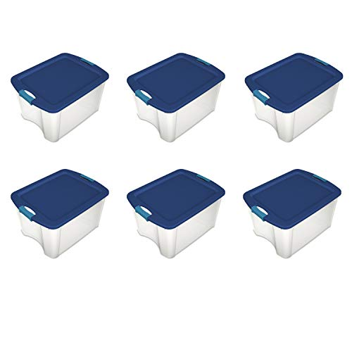- Sterilite 14469606 18 Gallon/68 Liter Latch and Carry, True Blue Lid and Clear Base with Blue Aquarium Latches, 6-Pack