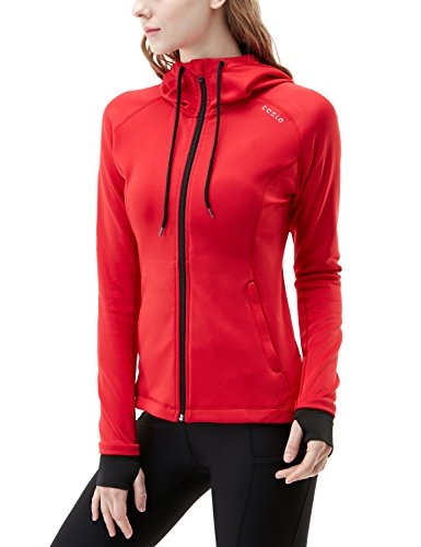 TM-FKJ04-CRR_Large Tesla Women's Lightweight Active Performance Full-zip Hoodie Jacket FKJ04