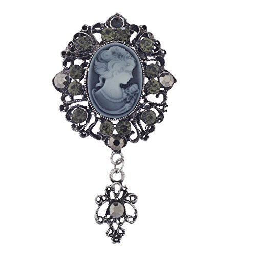 Lux Accessories Antique Vintage Blue Cameo Brooch Burnished Silvertone paver Stones