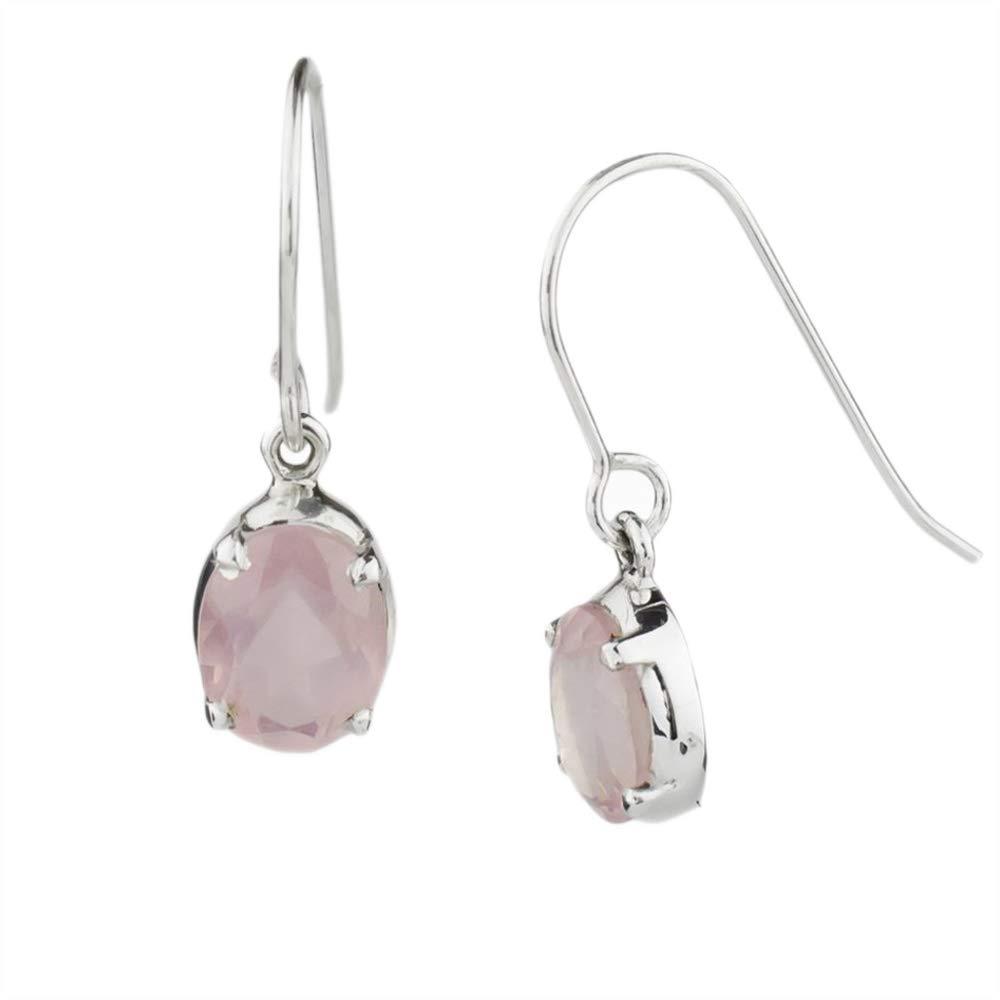 DV Jewels Hand Crafted Rose Quartz Gemstone Drop Earring