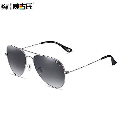 película sol gafas marea interior de anteojos azul la marea de Gafas sol de Frame Gray podría polarizados conducir KOMNY hombre Of Progressive del Silver bastidor hombres pistola tw6qv