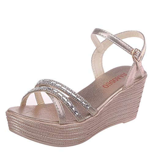 ◕‿◕Water◕‿◕ Women Wedge Sandals,Summer Crystal Beach Sandals Peep Toe Casual Shoes Bohemian Fish Mouth Sandals Flat Sandals Gold
