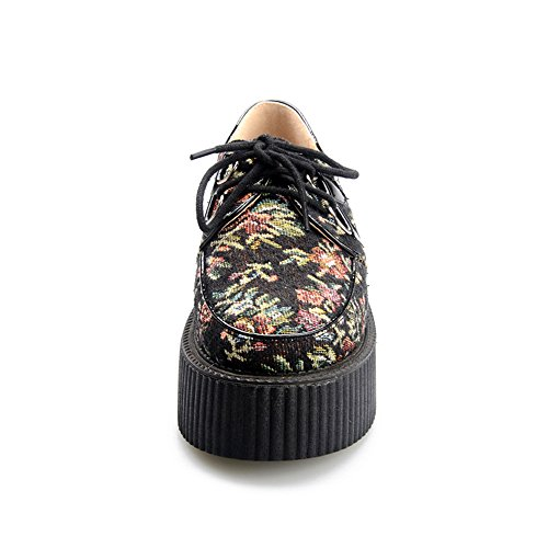3572abf6d4d96 85%OFF RoseG Women s Handmade Suede Flower Pattern Lace Up Flat Platform  Creepers Shoes