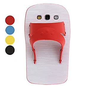 PEACH ships in 48 hours Special Design Flip-Flog Slipper Soft Case with Stand for Samsung Galaxy S3 I9300 (Assorted Colors) , Red