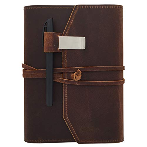 (Refillable Leather Journal Writing Notebook - Lay Flat Blank Notepad 100 Sheets, Handmade Leather Bound Diary with Inner Pockets, Pen & Pen Holder, 100gsm Thick Paper, A5 Size)