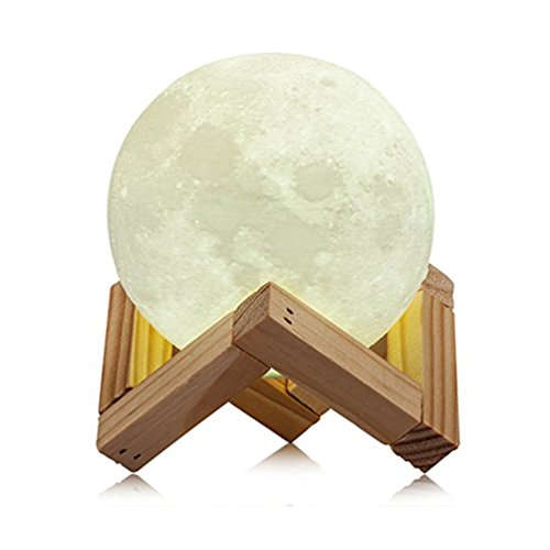 Famirosa Lighting LED 3D Printing Moon Lamp,Warm Cool White Dimmable Touch Switch Rechargeable Lunar Night Light with Wooden Stand,Home Decorative Bedlamp Creative Deco (3.1inch)