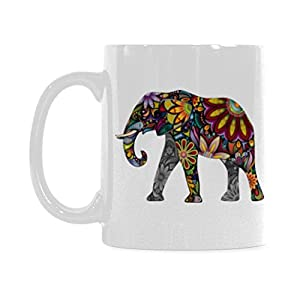 InterestPrint The Silhouette of Cheerful Flower Elephant Travel Water Coffee Mug Tea Cup, Funny Unique Birthday Gift for Men Women Mom Dad Friends Him Her