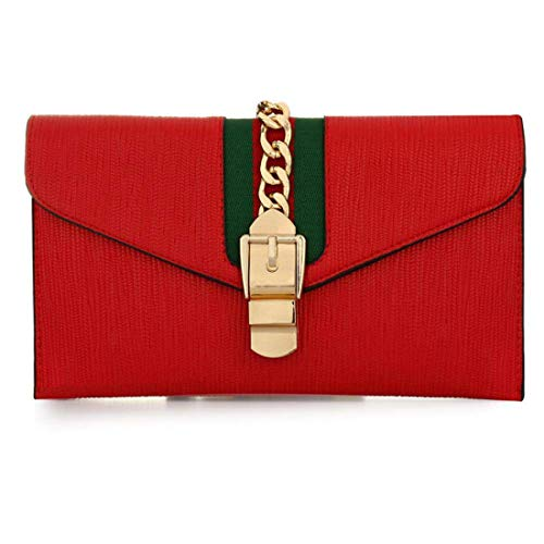 RISUP Designer Evening Envelope Clutch Bags Wristlet Purse Cross Body Bag Party Bridal Clutch Purse with Adjustable Strap (Red)