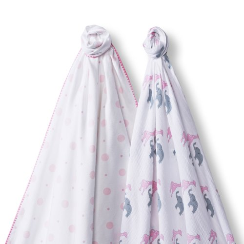 Ultimate Swaddling Swaddledesigns Blanket - SwaddleDesigns SwaddleDuo, Set of 2 Swaddling Blankets, Cotton Marquisette + Premium Cotton Flannel, Pink Circus Fun Duo