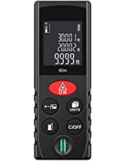 YOMYM Medidor láser digital, Medidor de distancia láser, Medida láser digital 197 pies / 60 metros con pantalla LCD para distancia, área, pitagórica, Negro