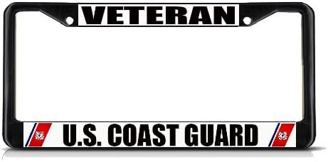 Coast Guard Navy Weatherproof Car Accessories Black 2 Holes Solid Insert 1 Frame Sign Destination Metal Insert License Plate Frame Veteran U.S
