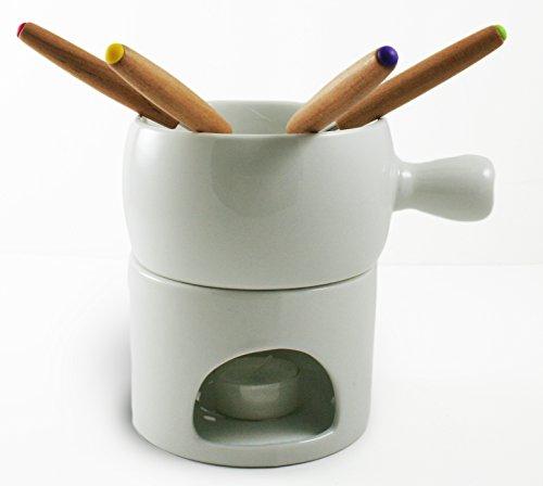 Janazala Ceramic Chocolate Fondue Set Includes White Ceramic Pot, Ceramic Candle Stand, 4pcs Forks and 4pcs Tealights