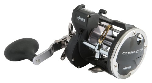 Okuma Convector Line Counter Levelwind Trolling Reel (30/330, CV-45D, Silver and Black Line Counter)